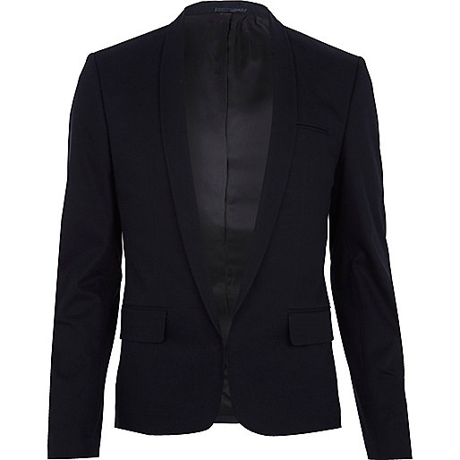 Navy blue open front blazer