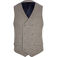Light brown double breasted waistcoat