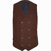 Dark red tweed wool-blend waistcoat