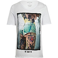White tattoo girl print low scoop t-shirt