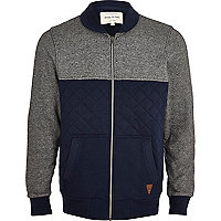 Navy contrast panel quilted bomber jacket