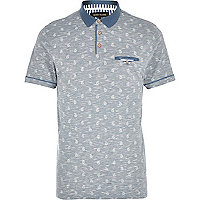 Light blue space dye paisley print polo shirt