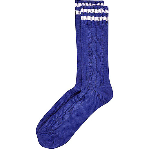 Blue cable knit boot socks