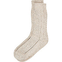 Ecru twist cable knit boot socks