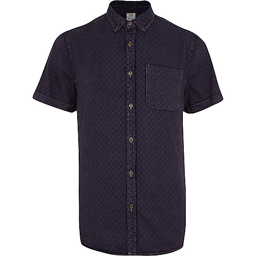 Dark purple cross print denim shirt