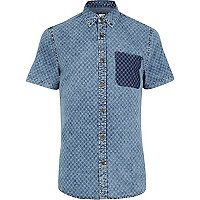 Light blue cross print denim shirt