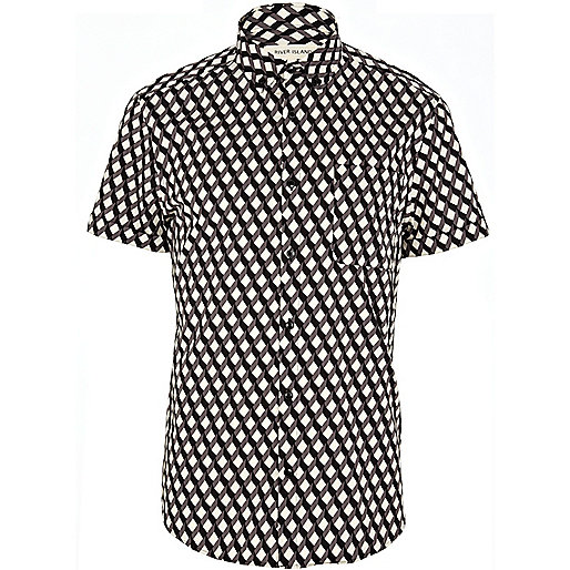 Grey cube print short sleeve shirt