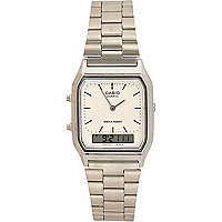 Grey metal Casio square watch