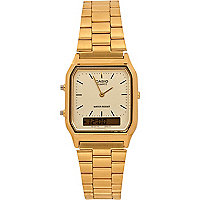 Gold tone Casio square watch