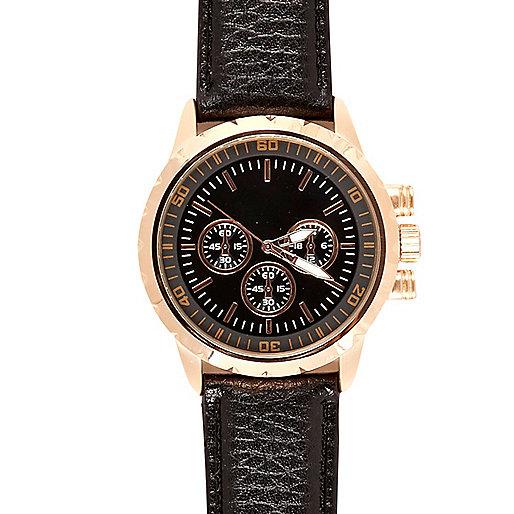 Black classic rose gold tone face watch