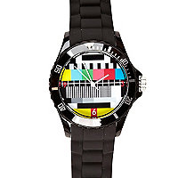 Black test screen print rubber watch
