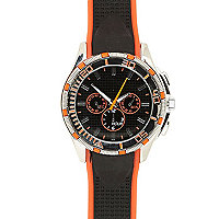 Black and orange silicon watch