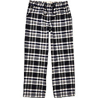 Navy blue woven check pyjama bottoms