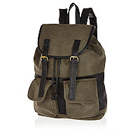 Khaki colour block rucksack