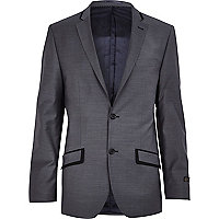 Grey grosgrain slim suit jacket