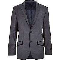 Grey contrast trim slim suit jacket