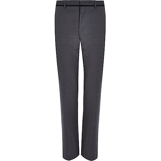 Grey contrast trim slim suit trousers