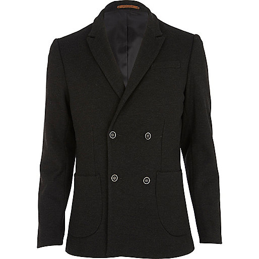 Dark grey double breasted jersey blazer