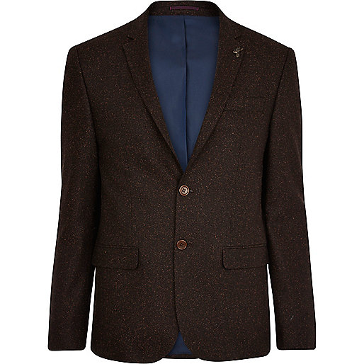 Brown collar pin wool blazer