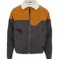 Grey Boxfresh two-tone waxed jacket