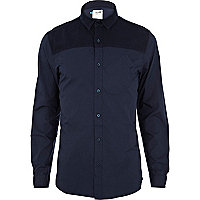 Navy Boxfresh contrast panel shirt