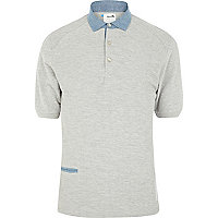 Grey Boxfresh contrast trim polo shirt