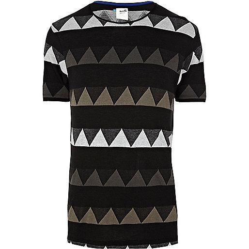 Black Boxfresh zig zag stripe print t-shirt