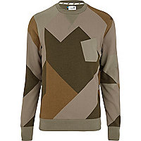 Khaki green Boxfresh geometric sweatshirt
