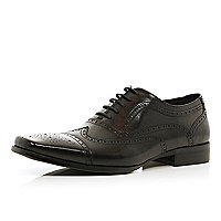 Black square toe brogues
