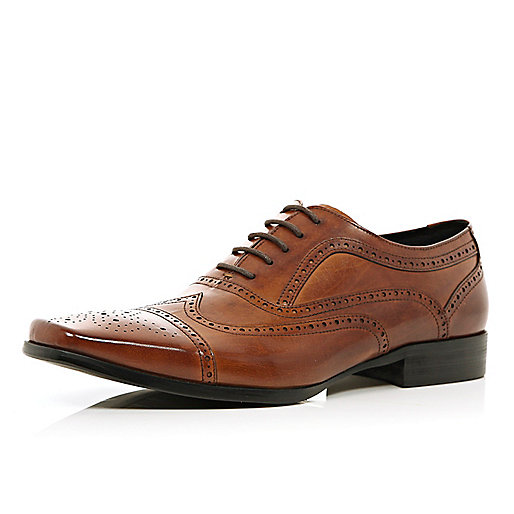 Brown square toe brogues
