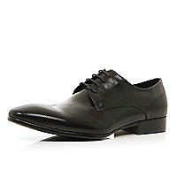 Black perforated wingtip lace up shoes