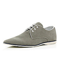 Grey perforated contrast sole shoes