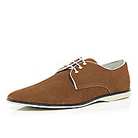 Brown perforated contrast sole shoes