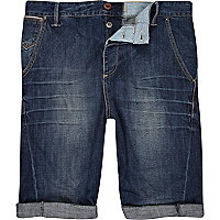 Dark wash twisted seam denim shorts