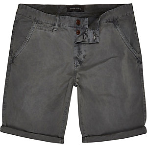 Grey slim chino shorts