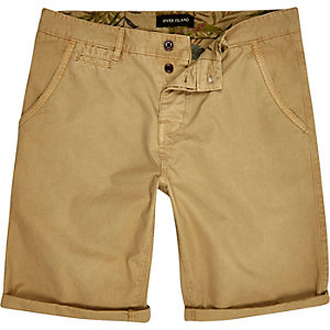 Tan slim chino shorts