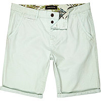 Pale green slim chino shorts
