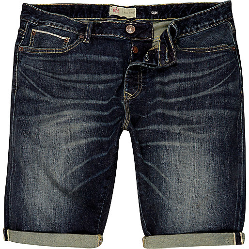 Dark wash slim denim shorts