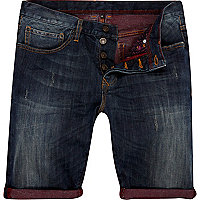 Dark wash contrast roll up denim shorts