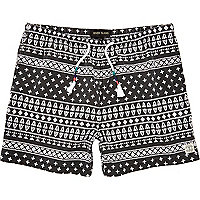 Black aztec print beach shorts