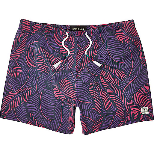 Purple feather print beach shorts