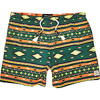 Green aztec print beach shorts