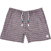 Purple zig zag print beach shorts