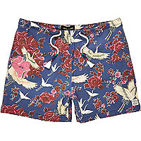 Navy floral print beach shorts