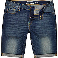 Mid wash skinny stretch denim shorts