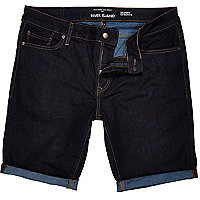 Dark wash skinny stretch denim shorts