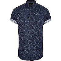 Navy space dye short sleeve shirt