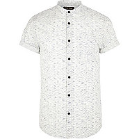 White space dye grandad collar shirt