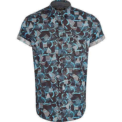 Blue abstract print short sleeve shirt