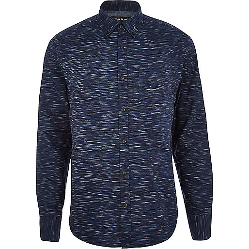 Navy space dye long sleeve shirt